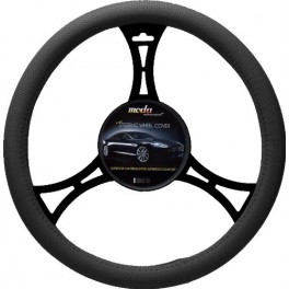 9022 Sport Leatherette Steering Wheel Cover Medium Black