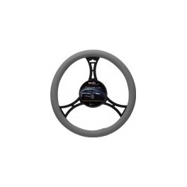 9026 Sport Leatherette Steering Wheel Cover Large Grey