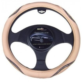 9037 Crystal Bling Steering Wheel Cover Small Beige