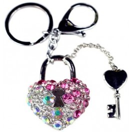 9652 Heart w/key  Key Chain Pink-Ice Crystals