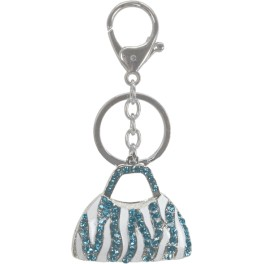 9657 Large Purse Key Chain - Turquoise-Ice Crystals