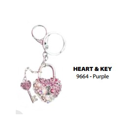 9664 Heart & Key - Purple Key Chain