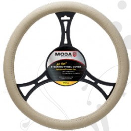 9028 Sport Leatherette Steering Wheel Cover Medium Beige