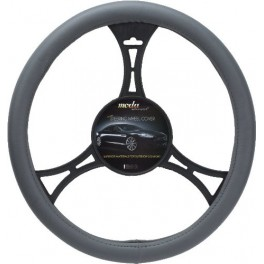 9015 Smooth Leatherette Steering Wheel Cover Medium Grey